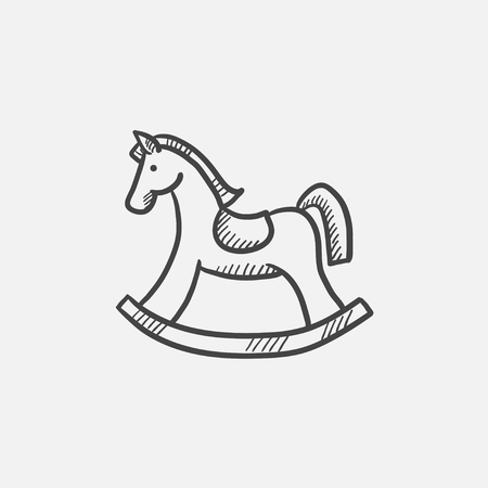 Rocking horse sketch icon for web, mobile and infographics. Hand drawn vector isolated icon. Illustration