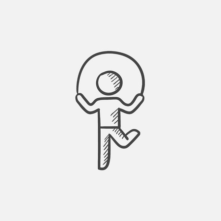 Child jumping rope sketch icon for web, mobile and infographics. Hand drawn vector isolated icon.