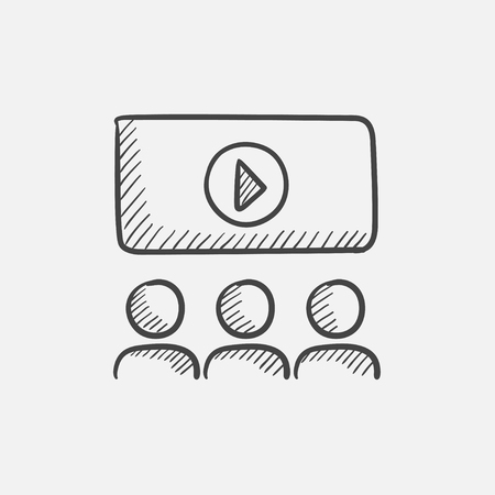 Viewers watching motion picture at movie theatre sketch icon for web, mobile and infographics. Hand drawn vector isolated icon. Ilustrace