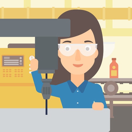A woman working with a drilling machine on the background of factory workshop with conveyor belt vector flat design illustration.  Square layout. Illustration