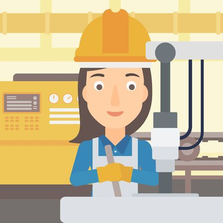 A woman working with an industrial equipment on the background of factory workshop with conveyor belt vector flat design illustration. Square layout.