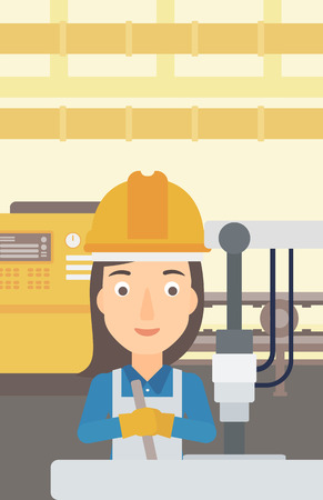A woman working with an industrial equipment on the background of factory workshop with conveyor belt vector flat design illustration. Vertical layout.