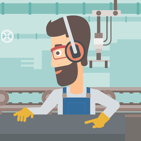 A hipster man with the beard working on a steel-rolling mill on the background of factory workshop with conveyor belt vector flat design illustration. Square layout. Иллюстрация