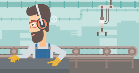 A hipster man with the beard working on a steel-rolling mill on the background of factory workshop with conveyor belt vector flat design illustration. Horizontal layout.
