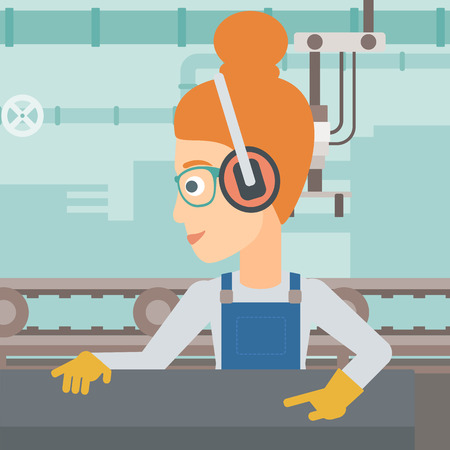 A woman working on a steel-rolling mill on the background of factory workshop with conveyor belt vector flat design illustration. Square layout. Иллюстрация