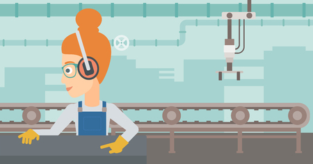 A woman working on a steel-rolling mill on the background of factory workshop with conveyor belt vector flat design illustration. Horizontal layout.
