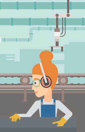 A woman working on a steel-rolling mill on the background of factory workshop with conveyor belt vector flat design illustration. Vertical layout.