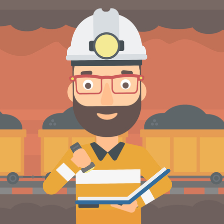 A hipster man with the beard checking a paper plan on the background of mining tunnel with cart full of coal vector flat design illustration. Square layout.