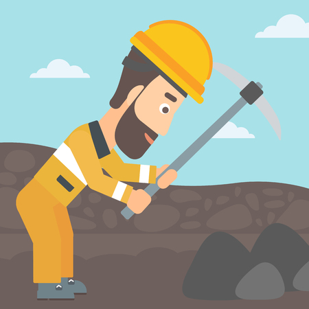 A hipster man with the beard working with a pickaxe on the background of coal mine vector flat design illustration. Square layout.