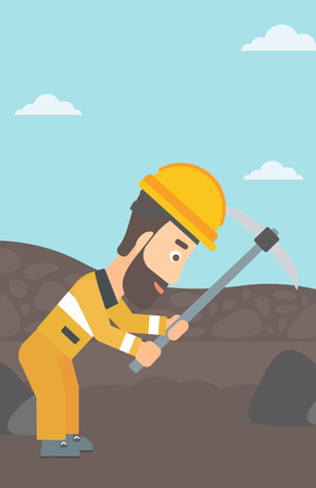 A hipster man with the beard working with a pickaxe on the background of coal mine vector flat design illustration. Vertical layout.