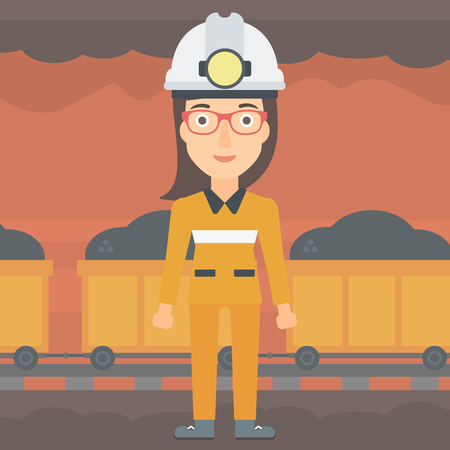A woman in hardhat with torch on the background of mining tunnel with cart full of coal vector flat design illustration. Square layout.