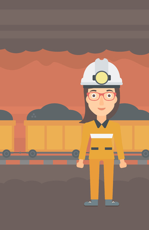 A woman in hardhat with torch on the background of mining tunnel with cart full of coal vector flat design illustration. Vertical layout.