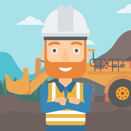 quarry: A miner standing in front of a big mining equipment on the background of coal mine vector flat design illustration. Square layout.