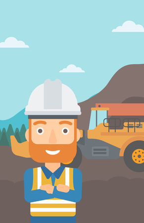 quarry: A miner standing in front of a big mining equipment on the background of coal mine vector flat design illustration. Vertical layout.