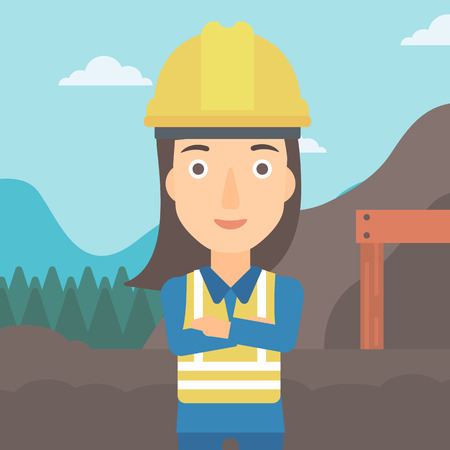A woman on the background of entrance to the mining tunnel vector flat design illustration. Square layout. Illustration