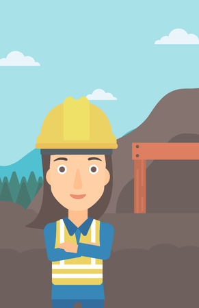 A woman on the background of entrance to the mining tunnel vector flat design illustration. Vertical layout.