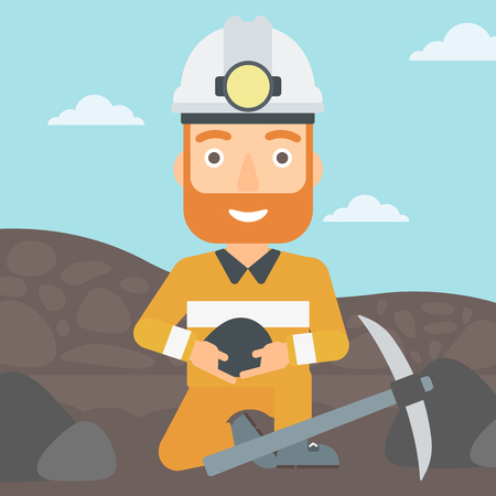 A hipster man sitting with coal in hands and a pickaxe on the background of coal mine vector flat design illustration. Square layout.
