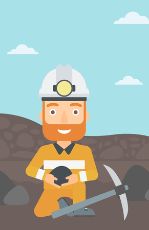 quarry: A hipster man sitting with coal in hands and a pickaxe on the background of coal mine vector flat design illustration. Vertical layout.