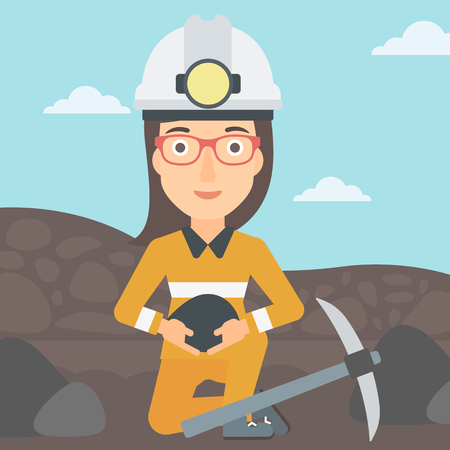 A woman sitting with coal in hands and a pickaxe on the background of coal mine vector flat design illustration. Square layout. Stock Illustratie