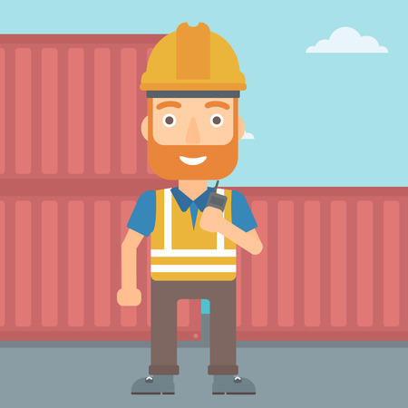 A hipster man with the beard talking to a portable radio on cargo containers background vector flat design illustration. Square layout.