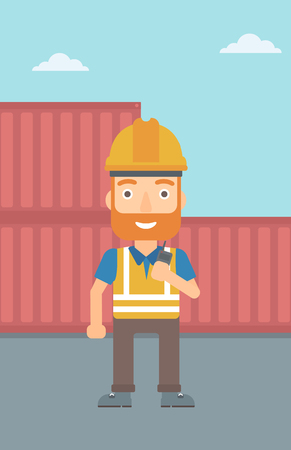 docks: A hipster man with the beard talking to a portable radio on cargo containers background vector flat design illustration. Vertical layout.