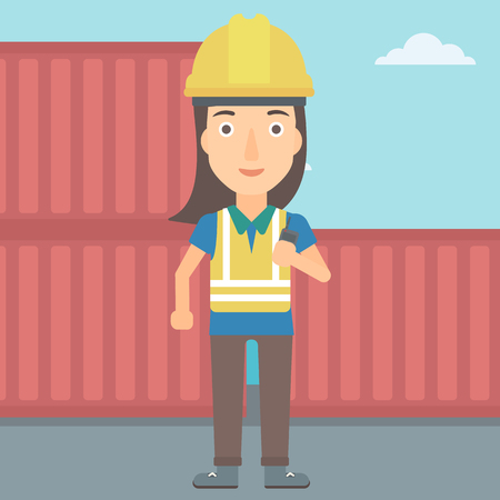 A woman talking to a portable radio on cargo containers background vector flat design illustration. Square layout.
