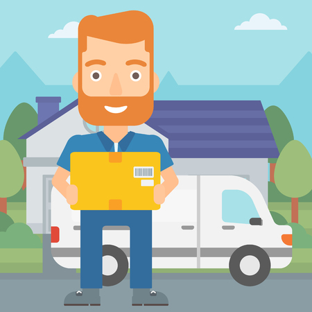 A delivery man carrying box on the background of delivery truck and a house vector flat design illustration. Square layout. Illustration