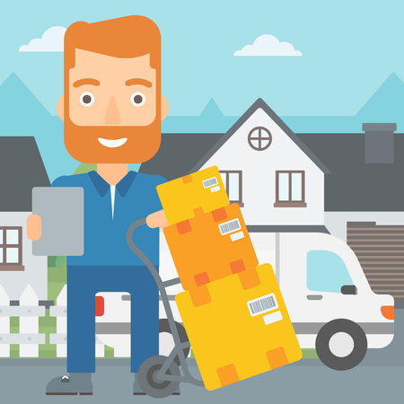 A delivery man standing near cart with boxes and holding a file in a hand on the background of delivery truck and a house vector flat design illustration. Square layout. Illustration
