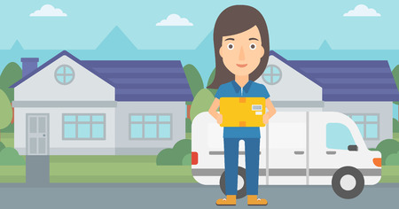 A delivery woman carrying box on the background of the city and delivery truck vector flat design illustration. Horizontal layout. Illustration