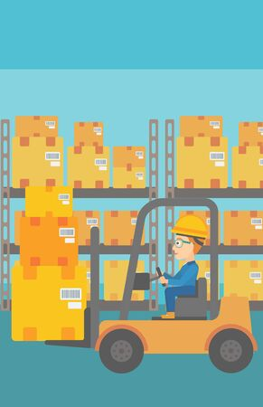 A woman moving load by forklift truck on the background of warehouse vector flat design illustration. Vertical layout.