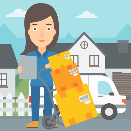 A delivery woman standing near cart with boxes and holding a file in a hand on the background of delivery truck and a house vector flat design illustration. Square layout.