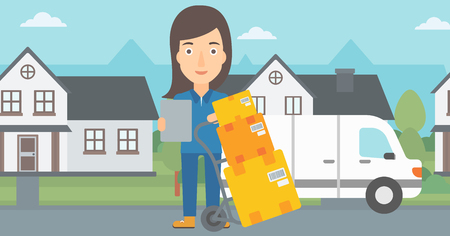 A delivery woman standing near cart with boxes and holding a file in a hand on the background of delivery truck and a house vector flat design illustration. Horizontal layout.
