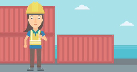 A woman talking to a portable radio on cargo containers background vector flat design illustration. Horizontal layout. Illustration