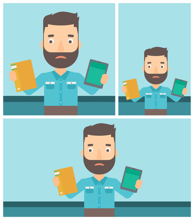 Confused man choosing between a tablet computer and a paper book. Man holding book in one hand and tablet computer in the other. Vector flat design illustration. Square, horizontal, vertical layouts. Illustration