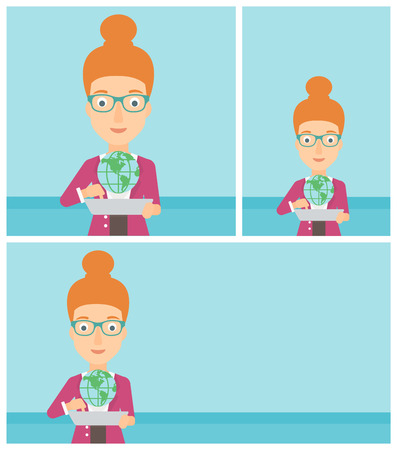 Woman holding a tablet computer with a model of planet earth above the device. International technology communication concept. Vector flat design illustration. Square, horizontal, vertical layouts.