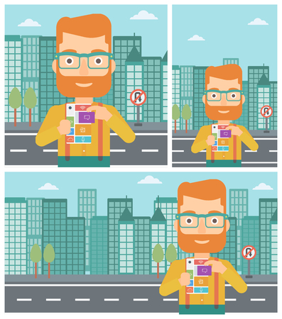 A hipster man with the beard holding modular phone. Young man with modular phone on a city background. Man using modular phone. Vector flat design illustration. Square, horizontal, vertical layouts.