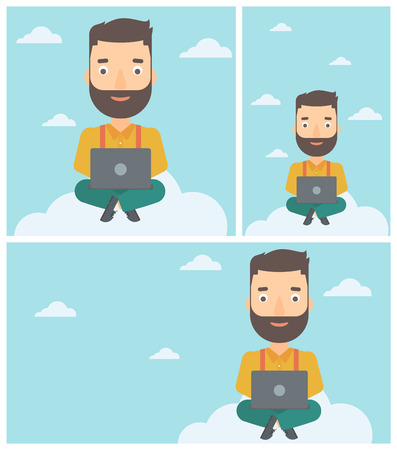 A hipster man sitting on a cloud with a laptop on his knees. Happy man using cloud computing technology. Cloud computing concept. Vector flat design illustration. Illustration