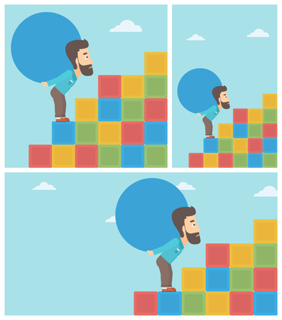 Tired hipster man rising up on the colored cubes and carrying a big stone on his back. Man with huge concrete ball.
