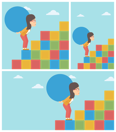 Tired woman rising up on the colored cubes and carrying a big stone on her back. Young woman with huge concrete ball going up.
