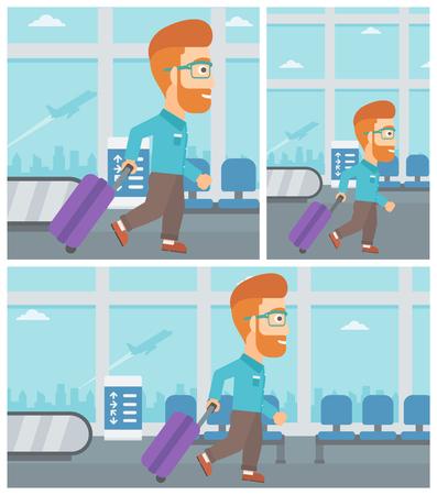젊은 hipster 남자 공항에서 걷는 가방. 벡터 평면 디자인 일러스트 레이 션. 정사각형, 수평, 수직 레이아웃.