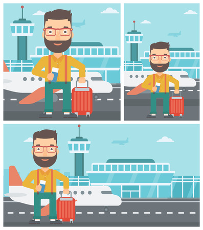 Young hipster man with suitcase holding a passport with ticket at the airport. Vector flat design illustration.