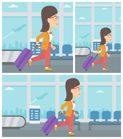 Young woman with a suitcase walking at the airport. Vector flat design illustration. Square, horizontal, vertical layouts. Ilustração