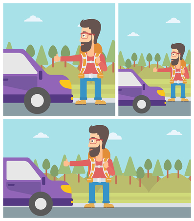 A man trying to hitchhike. Ilustrace