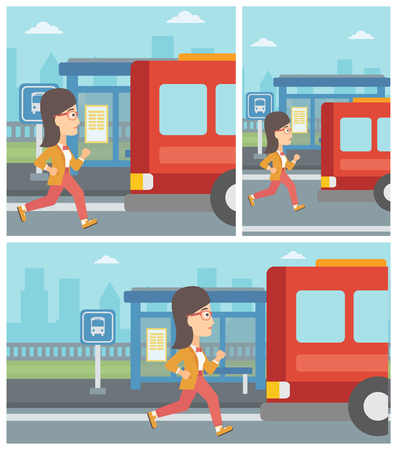 A latecomer woman trying to chase the departing bus.