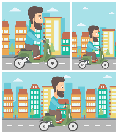 A man riding his scooter without any helmet with town building as background.