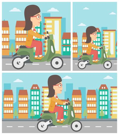 Flat design illustration of a woman riding her scooter, in square, vertical and horizontal versions.
