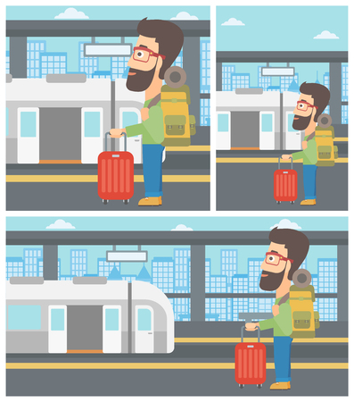 Man with suitcase and backpack standing at the train station on the background of train with open doors. Illusztráció