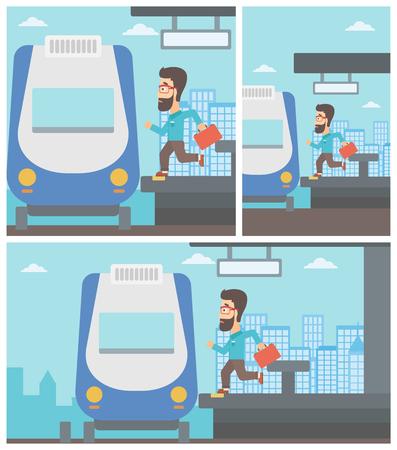 Latecomer man met koffer loopt langs het platform om de trein te bereiken. Hipster man kwam te laat op het treinstation. Vector platte ontwerp illustratie. Vierkante, horizontale, verticale lay-outs. Stock Illustratie
