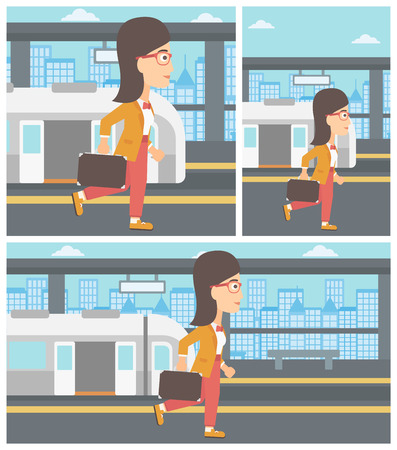 Young woman walking on the train platform on the background of train with open doors. Vector flat design illustration. Square, horizontal, vertical layouts.