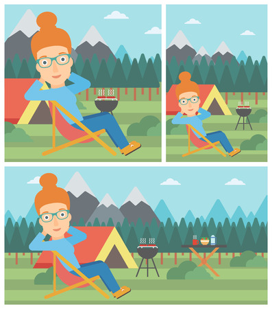 collapsible: Young woman sitting in a folding chair in the camp. Travelling woman relaxing and enjoying her camping holiday near the tent. Vector flat design illustration. Square, horizontal, vertical layouts.